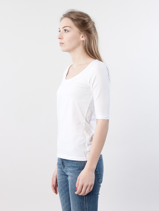Fine Lycra Scoop Top White