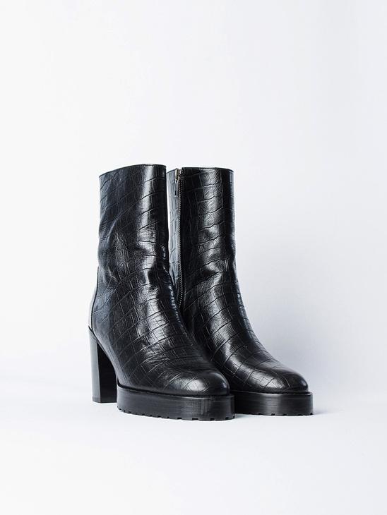 Chunky Boot Croco Black