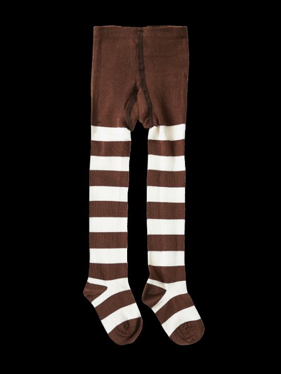 1 Pack Stripe Tights Brown