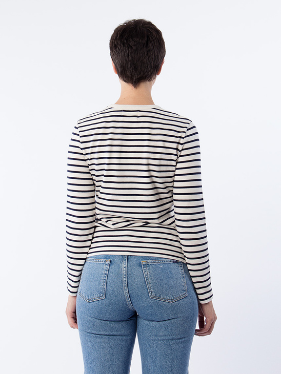 APLACE Moa Long Sleeve Navy stripes - Wood Wood