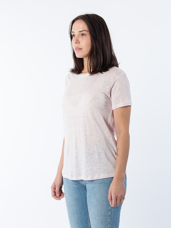 Swing Short Sleeve Linen Tee Powder Pink