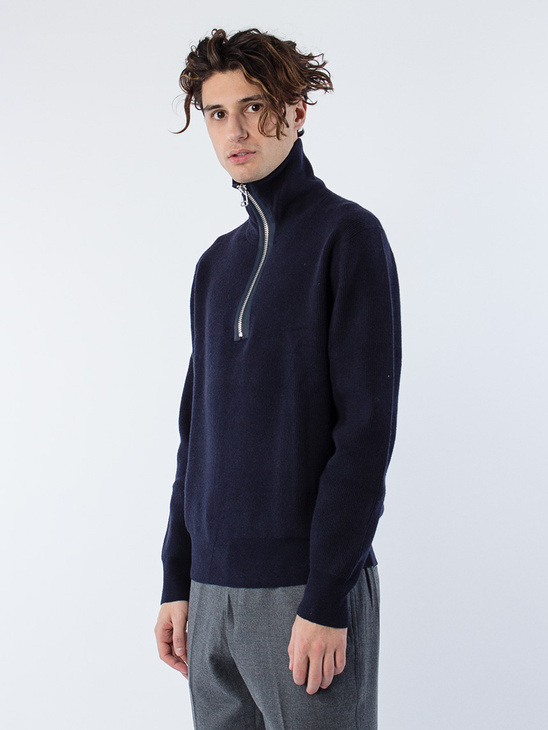 M. Half Zip Ribbed Sweater