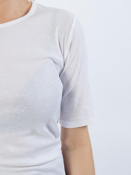 Ivy fine rib half sleeved White