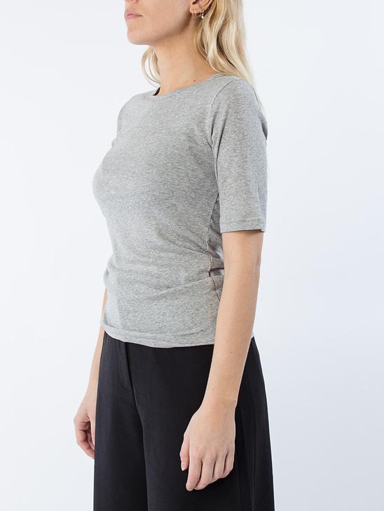 Ivy fine rib half sleeved Grey