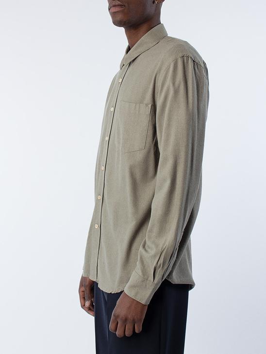 Classic Shirt Drab Silk Noil