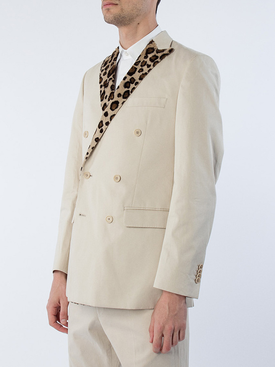 Beige Suit W/ Leo Lapel