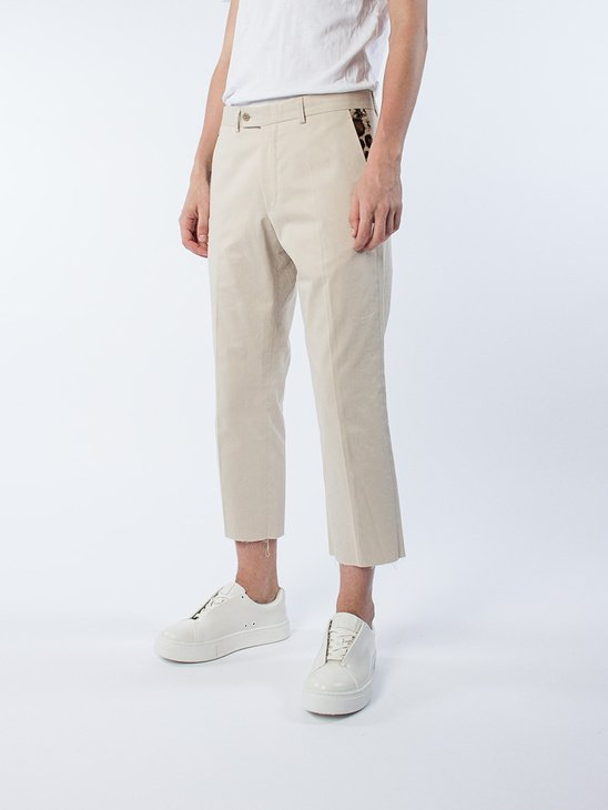 Beige Suit Trousers W/ Leo