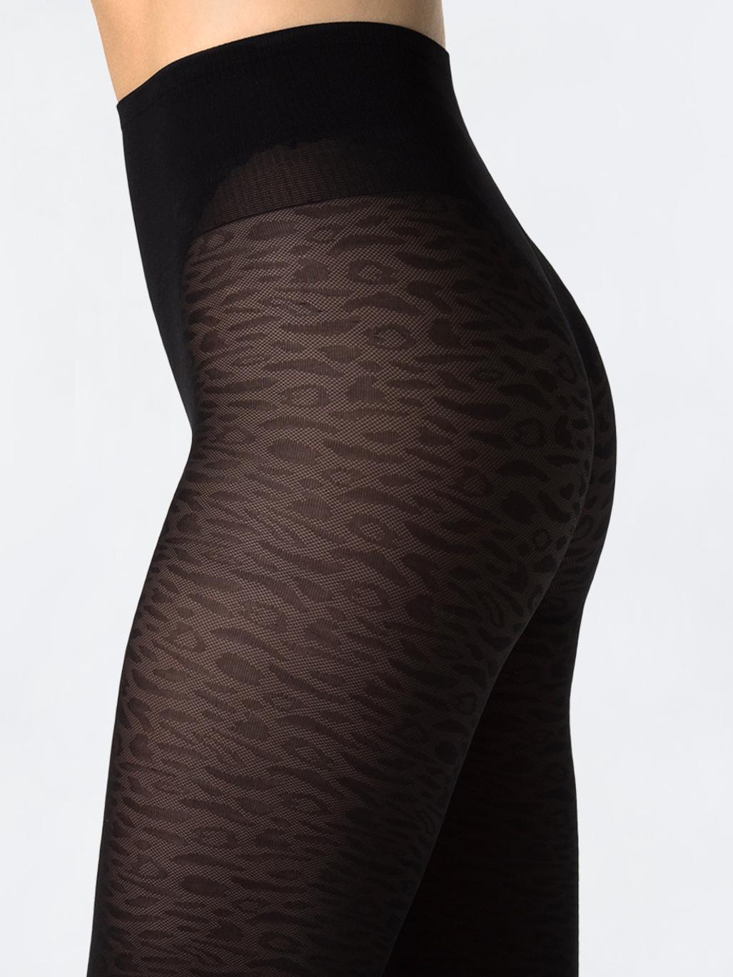 90dd822b49444d Emma Leopard Tights Black - Swedish Stockings