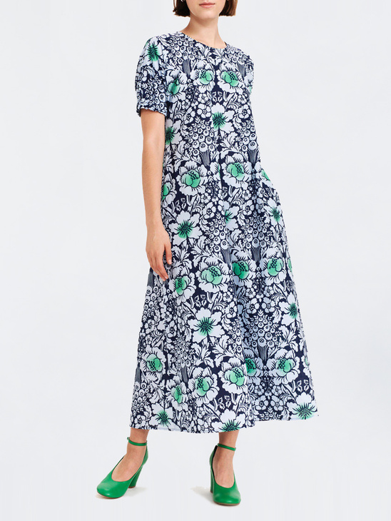 7b95fbfc90e6 Marimekko Veroinen Juhannus dress Dark Blue/Light Blue/Green ...